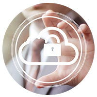 Microsoft Office 365 - Graphic of a padlock within a cloud overlapping a hand.